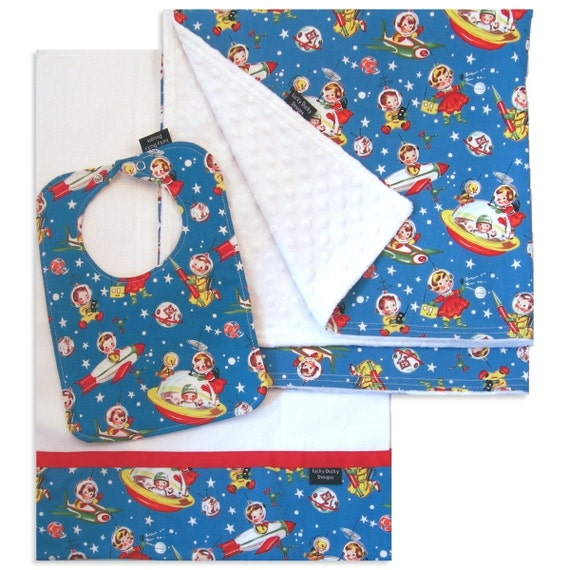Rocket Rascals Receiving Blanket Set with Matching Bib and Burp Cloth
