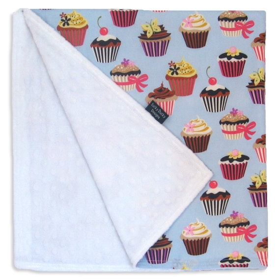 Cupcake Receiving Blanket - Minkee fabric paired with designer cotton print
