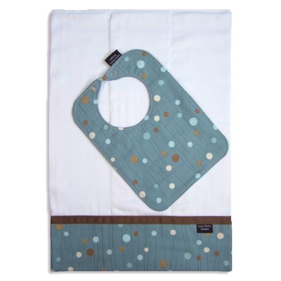 Bib and Burp Cloth Set - Beach Dot Fabric