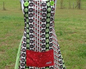 Fun Jolly Festive Handmade Christmas Holiday Apron - adult size - Happy Campers of the South (APR010)