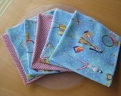 Fabric Lunch Napkins - cloth, eco-friendly, set of 6, woman on the go theme, 14 x 14 inches - by Happy Campers of the South