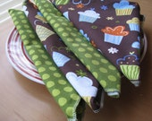 SOLD - Fabric Birthday Napkins - cloth, eco-friendly, set of 4, cupcakes, polka dots, 18 x 18 inches (NAP016)