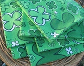 Fabric Napkins - cloth, eco-friendly, set of 6, Irish St. Patrick's Day shamrock, 15 x 15 inches - Happy Campers of the South (036)