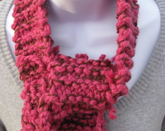 Hand knit Raspberry scarf with brown - by Happy Campers of the South (SCRF006)