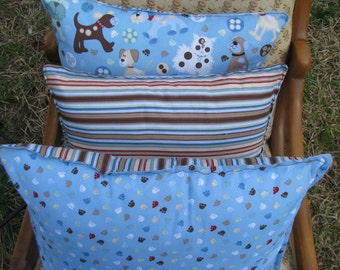 SALE Decorator Throw Pillow Covers - light blue, brown - set of 3 - dog theme - by Happy Campers of the South
