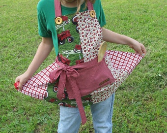 Farmall red tractors girl's apron - by Happy Campers of the South (APR101)
