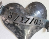 Iron Anniversary Gift, Valentine,  Personalized 6th wedding anniversary gift,Established Date sign on handforged heart,Pick Your Special Day