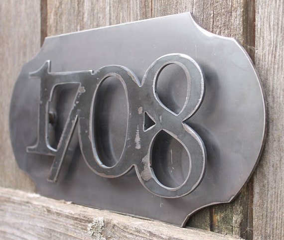 Custom metal house numbers pop out on metal backplate 4 numbers set