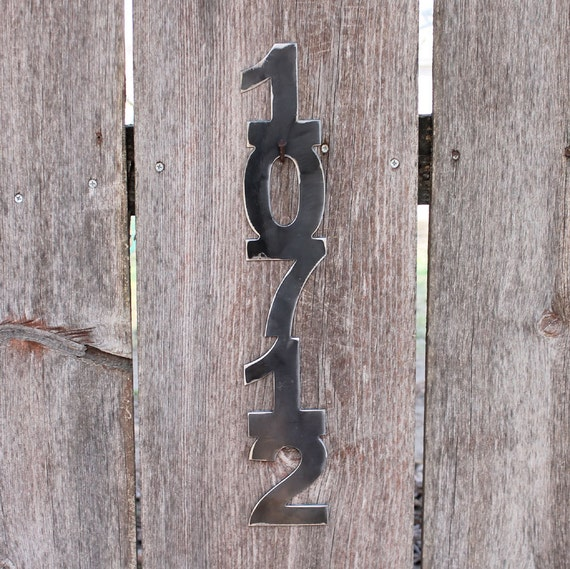 Metal Address Numbers , House Numbers,  Set of 5 Vertical