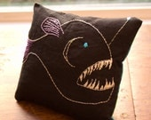 Anglerfish Small Pillow Decorative Embroidery