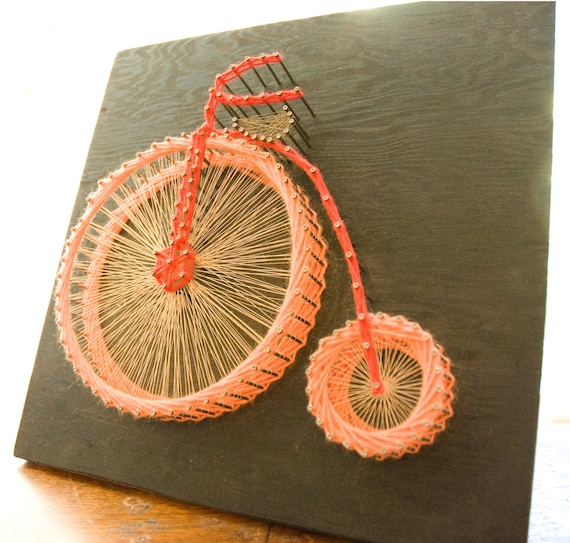 Vintage bicycle string art 70s retro for 70 bike decoration