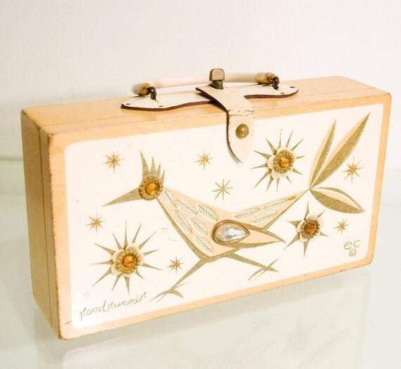 Vintage 60s Enid Collins Gold Roadrunner Box Bag Purse Collins of Texas