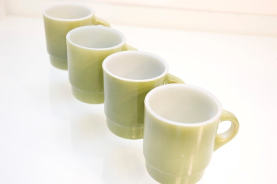 Avocado Green Fire King Mugs Coffee Cups