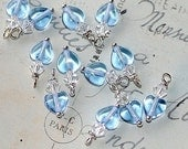 Bead Dangle Sapphire Heart Charms pendants jewelry making supplies clear  swarovski crystal