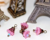 Frosted Pink Bellflower Charms bead faceted  Small dangle beads jewelry making findings crystal