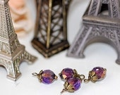 HandmadeVIntage Style Bead Drops Charms Dangles Wire Wrapped  Swarovski Crystal  Amethyst AB Viintage Charms