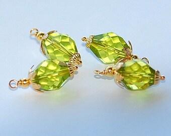 FREE SHIP  Vintage Olivine Crystal Charms