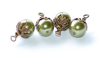 Free Ship Vintage Olive Green Glass Pearl Charms