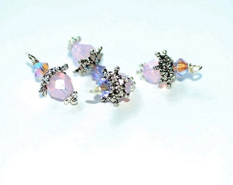Bead Dangles drops Pink Opal Crystal charms silver bead caps jewelry Making findings