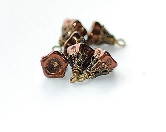 FREE SHIP Metallic Bronze Bellflower  bead glass drops Charms jewelry making  brass bead caps pendants