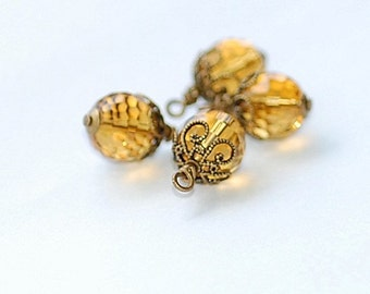 Bead Dangles  Autumn Amber charms jewelry making supplies