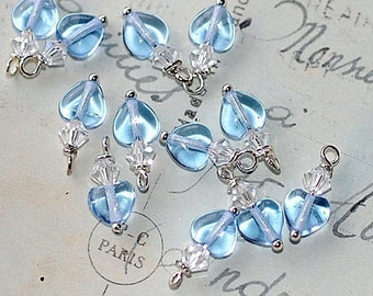 Bead Dangle Sapphire Heart Charms pendants jewelry making supplies clear  swarovski crystal