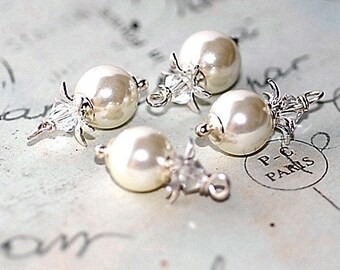 FREE SHIP Vintage White Pearl Glass Charms
