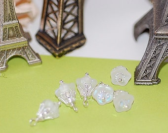 Handmade Bead Drops Charms Dangles Wire Wrapped  Swarovski Crystal White Opal Blossom Charms