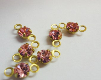 Bead Dangles drops Vintage Pink Crystal Chaton Connectors jewelry Making supplies