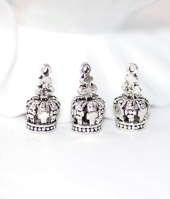 Bead Dangles Drops  Silver Crowns jewelry Making pendant supplies findings
