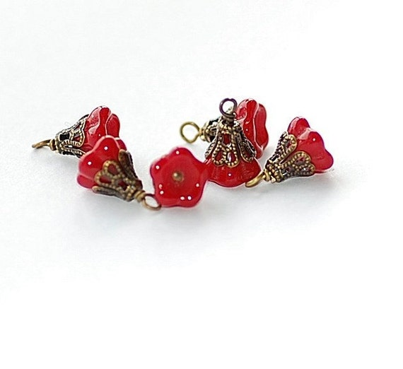 FREE SHIP Czech Red Bellflower Charms