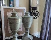 Pair of Vintage Plaster Hand Porcelain Painted Urn