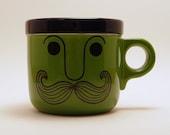 Vintage 60s 70s Mustache Mug Coffee Cup Danish Modern HOWIE