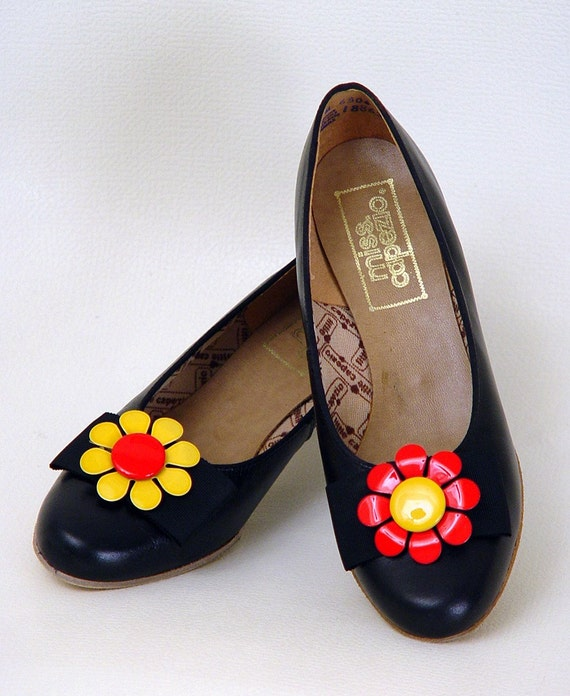 Vintage 60s Mod MISS CAPEZIO Dolly Heels BOW Flats 7