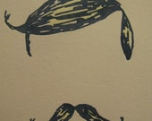 Moustache and Toupee - 7x12 in. letterpress print