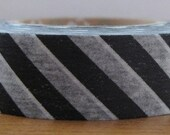 japanese washi masking tape -  black and white diagonal stripes
