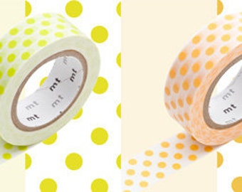 mt masking tape - large dots- moegi green and apricot