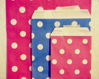 SALE ITEM  - paper gift bag set - pink and blue - polka dots