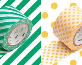 mt masking tape - mt wide - L - set of 2 - green stripes and apricot dots
