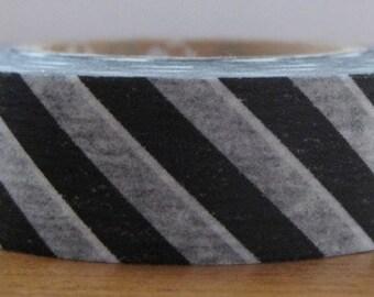 mt washi masking tape -  black and white diagonal stripes