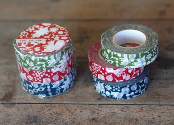 japanese masking tape set of 3 - forest squirrel