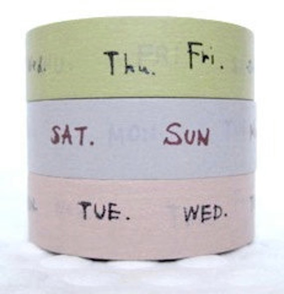 days of the week japanese masking tape 15mm x 15m x 3 roll set