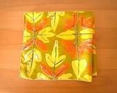 Vintage Vera Silk Scarf Leaves
