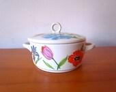 Vintage Ceramic Container With Lid Primavera