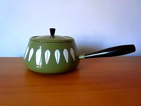 Vintage Mod Cathrineholm Lotus Fondue Pot Green