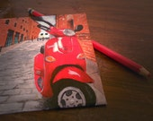 Vespa on the Street 4x4 Original Painting