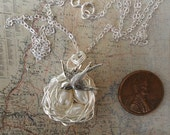 Bird Nest WITH MAMA Bird Necklace  3 Eggs White Freshwater pearls Silver