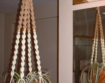 Macrame Plant Hanger White and Sand 4 Tan BEADS