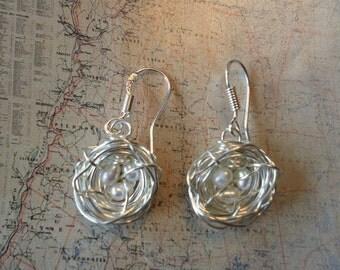 Bird Nest Earrings White Fresh water Pearls Sterling Silver
