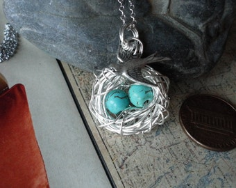 Bird Nest Necklace 2 Eggs Turquoise With MAMA Bird Silver Mother, Bridesmaids, WEDDING GIFT